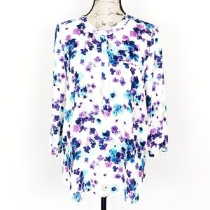NYDJ floral henley pleated blouse